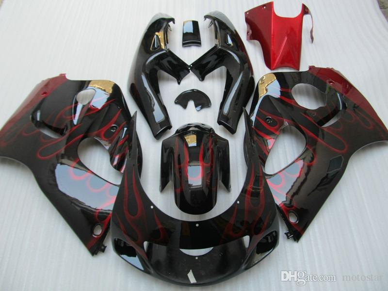 Plastic fairing kit for SUZUKI GSXR600 GSXR750 1996-2000 GSX-R 600/750 96 97 98 99 00 red flames black motorcycle fairings set GB37