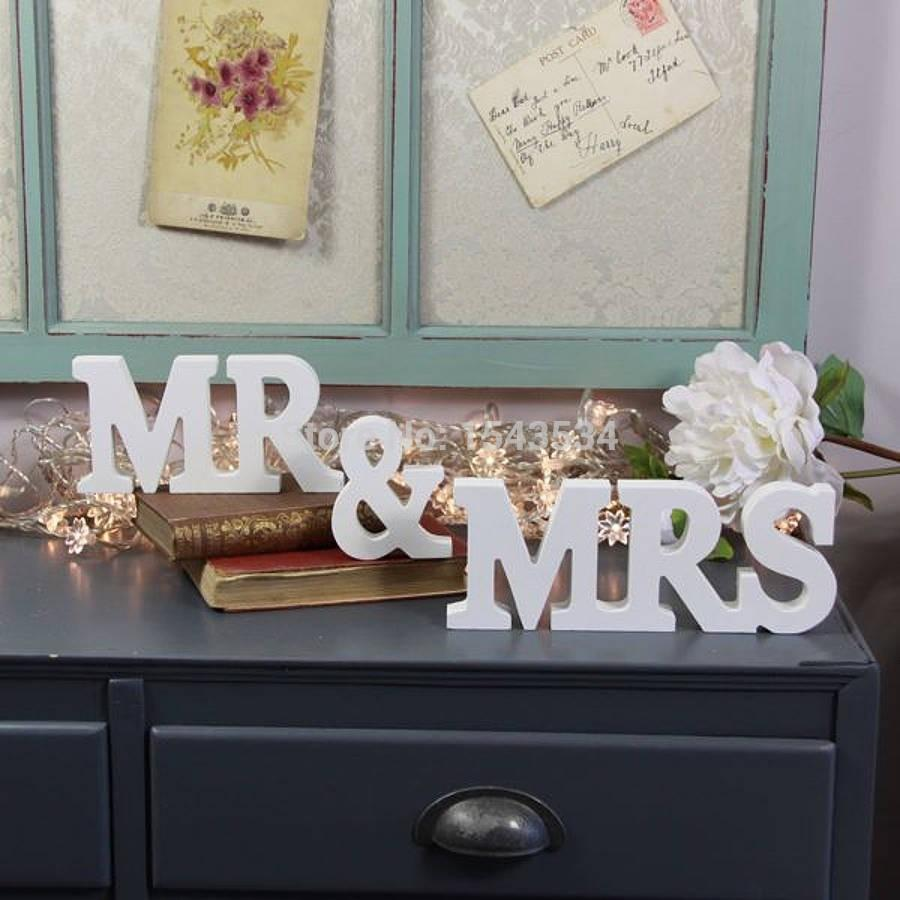 Mr Mrs Letter Decoration Elegant Freestanding Wooden Letters