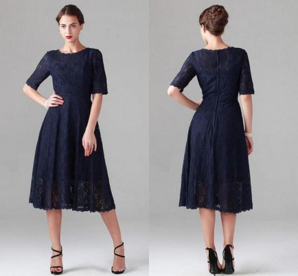 Vintage Dark Navy Tea Length Dresses with Sleeves A Line Lace Mother of the Bride Dress Custom Made Modest Wedding Party Gowns