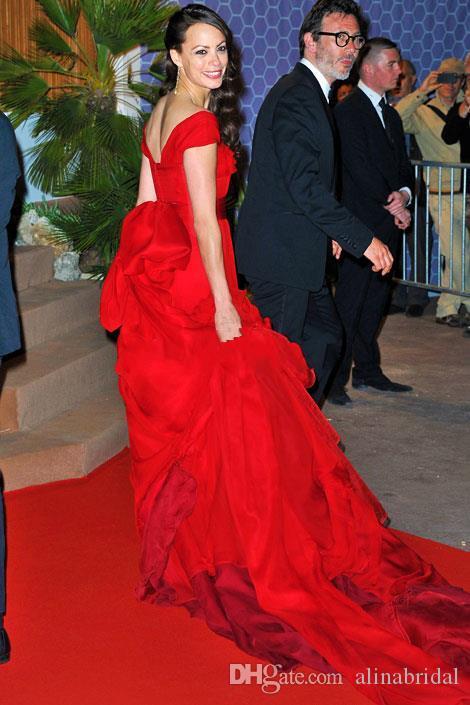 Berenice berenice berenice suknie wieczorowe Suknie celebrytowe urocze czapki rękawy łuk back back straps sweept train czerwony dywan sukienka