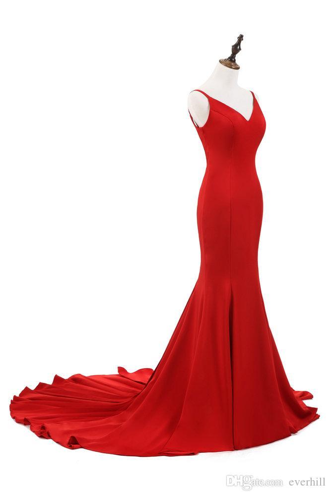 Jane Vini Rot Tiefem V-Ausschnitt Mermaid Frauen Abendkleider Sexy Backless Lange Formale Abendkleider Party Kleid Rüschen Gericht Zug 2018 Galajurk