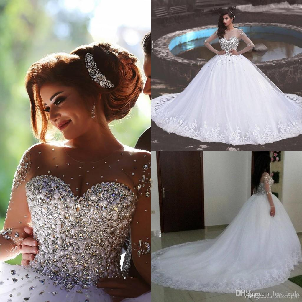 Ivory Lace Bodice Ball Gown Wedding Dress With Sheer Long: 2016 Luxury Rhinestone Crystal Pearls Long Sleeve Lace