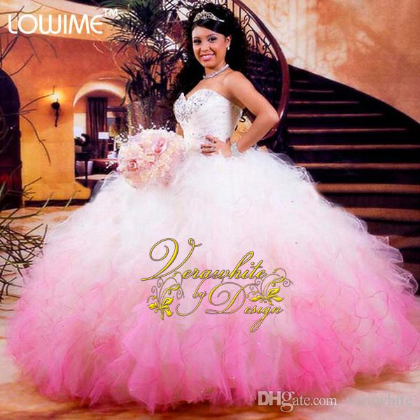 f6e2e42c5fc Hot White And Pink Quinceanera Dresses 2016 Ball Gowns Organza Beads Ruffles  Vestidos De 15 Anos Cheap Quinceanera Gowns Gowns For Cheap La Glitter ...