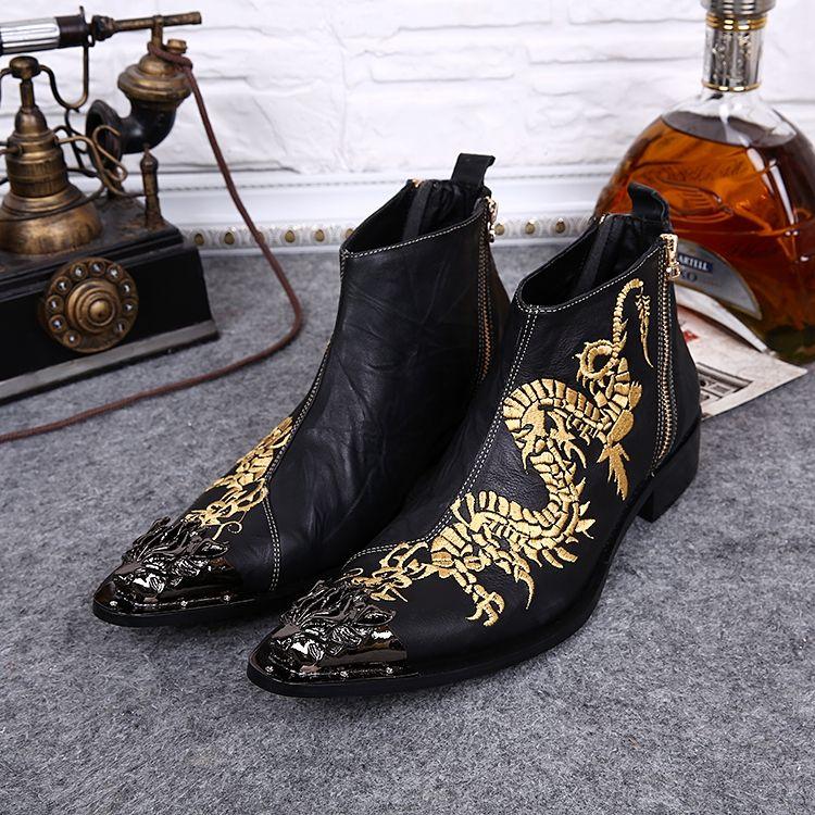 Британский Стиль Лодыжки Мартин Сапоги Inwrought Дракон Металлический Носок Молнии Сапоги Человек Мода Сапоги Мужчины Черный Натуральная Кожа Ретро Обувь