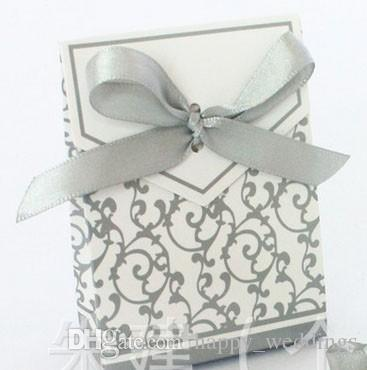 Silver Ribbon Gift Paper Bags Candy Box Wedding Party Cake Favour Favor Gift Boxes