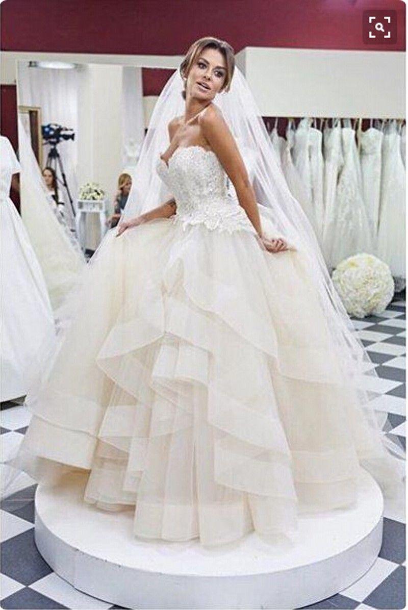 Organza 볼 가운 웨딩 드레스 러프 층 레이스 Strapless 레이스 신부 드레스 가든 웨딩 드레스 Ustommade