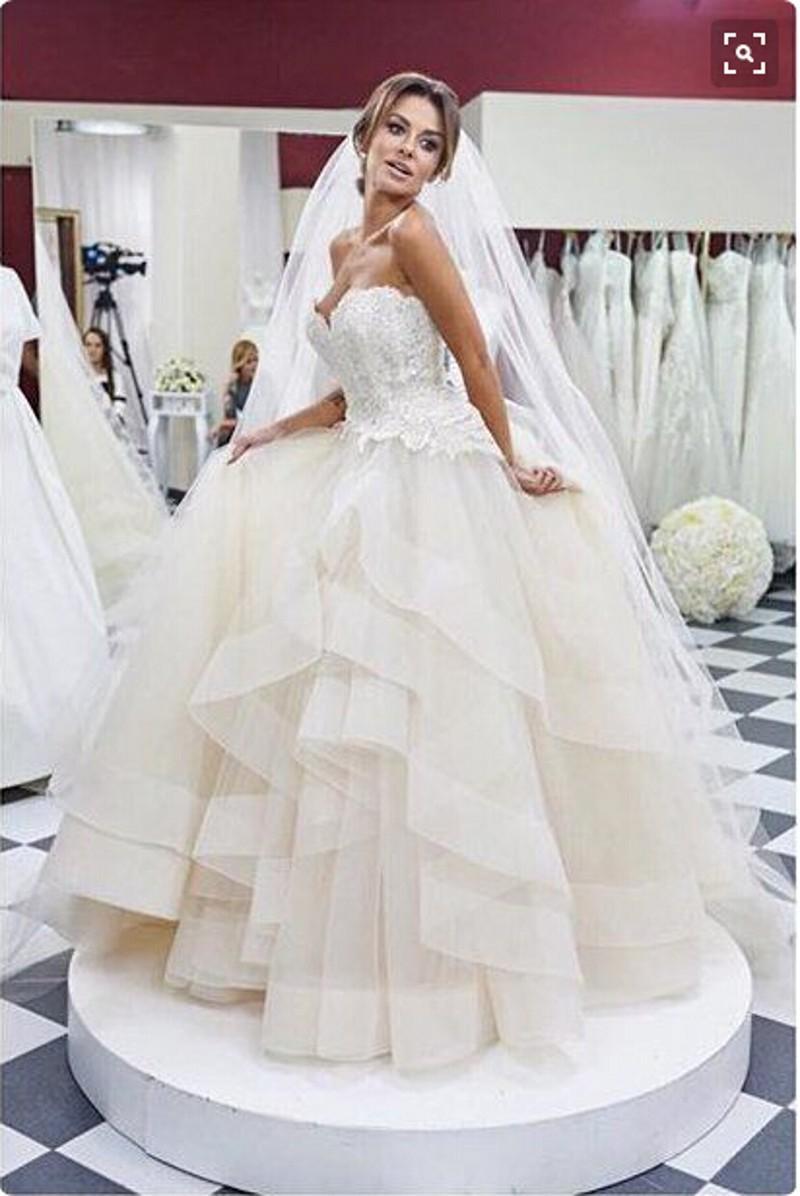 الأورجانزا الكرة بثوب فساتين الزفاف الكشكشة الطبقات حمالة الرباط فساتين الزفاف حديقة أثواب الزفاف ustom صنع