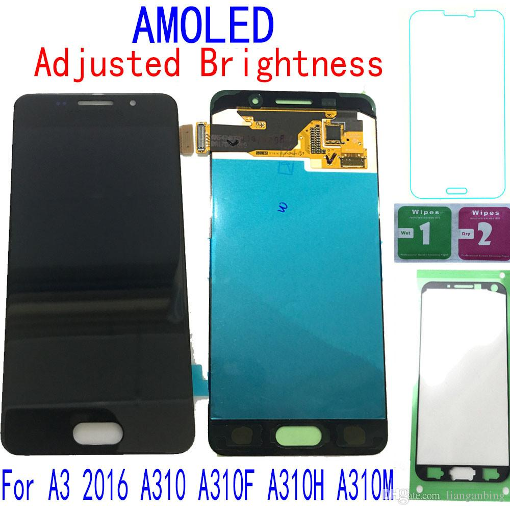 Super AMOLED LCD Display Touch screen Digitizer For Samsung Galaxy A3 2016 A310 A310F A310H Black White Gold Tempered Glass DHL logistics