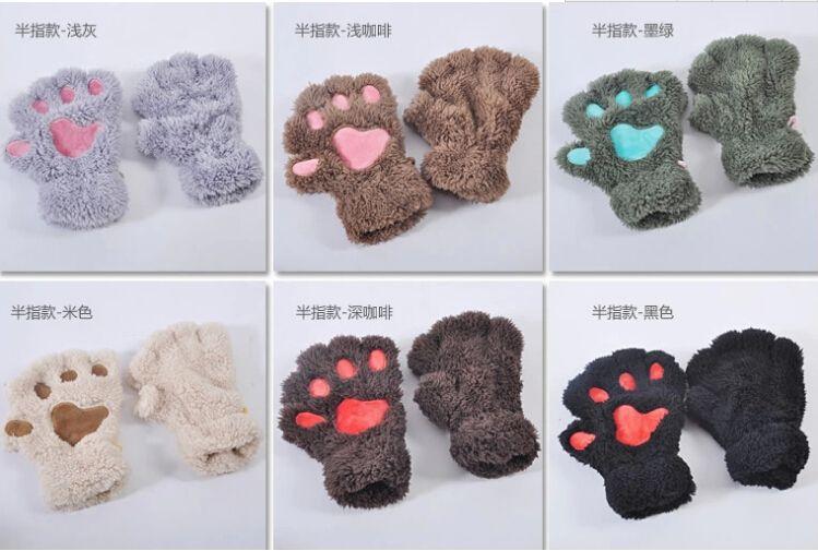 kostenloser Versand Fluffy Bear / Katze Plüsch Pfote / Klaue Handschuh-Neuheit Halloween weiche Frottee Dame halb bedeckt Handschuhe Fäustlinge