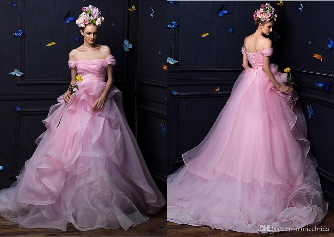 Princess Ball Gown Wedding Dresses: Romantic Princess Pink/Ivory Wedding Dresses Organza Ball