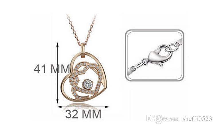 Moda Kalp Zirkon Kolye Küpe Setleri Çift Kalp Takı Setleri Kalp rüya bayan Kolye Seti 8028