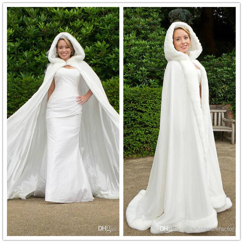 2016 Winter White Wedding Cloak Cape Hooded With Fur Trim Long Bridal Jacket Evening Stoles Dresses Coat Party Jackets 2017