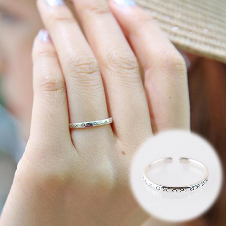 South Korea And Thailand Silver Ring Alphabetic Letters Xoxo Star