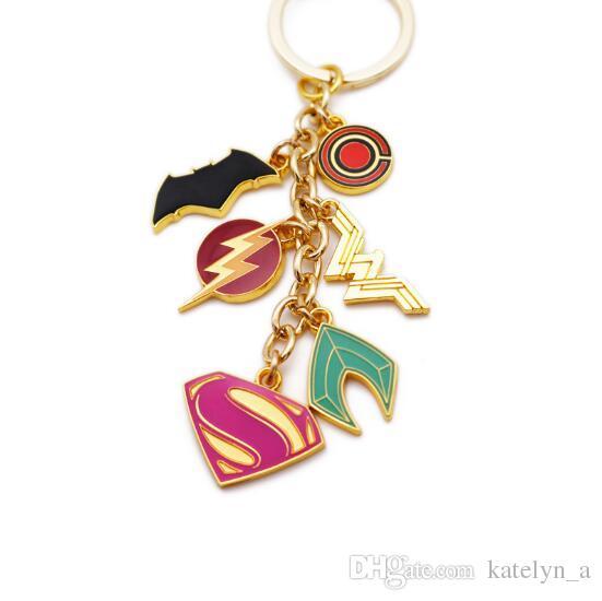 Moving Jewelry New Arrival DC Jewelry Justice League Keychain Alloy Superhero Superman Batman Spiderman Wonder Women Keyring Accessories