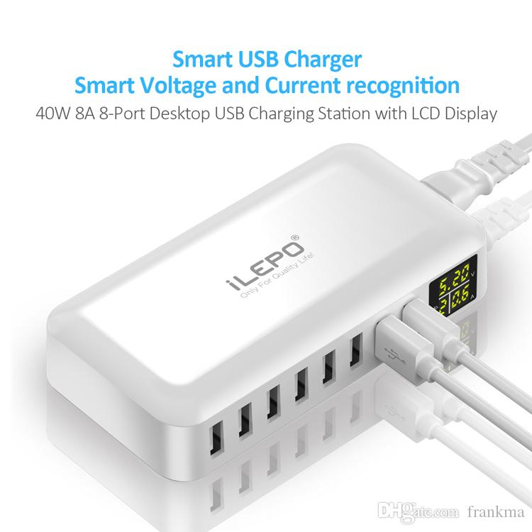 Akıllı Seyahat 8A USB Şarj LCD Ekran 8 Güç Portları Hub Yüksek Hızlı Çoklu Adaptörü Android Telefon için Powerbank Kablosuz Loptop S8