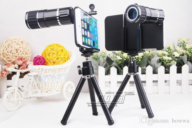 12x zoom telescope mobile camera lens kit tripod case for iphone 6