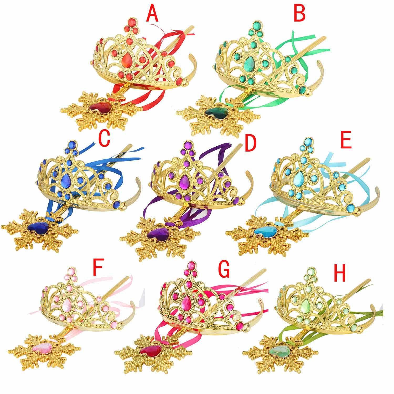New Golden Snowflake Ribbon Wands Crown Set Fairy Wand Girl Christmas Party Gem Sticks Magic Wands Wreath Headband