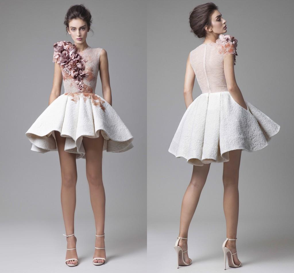 Neue Krikor Jabotian Short Cocktailkleider Auffallende Rüschen 3D Handgemachte Blumen Applikationen Party Kleider Abend Bescheidenen Stilvolle Vestidos