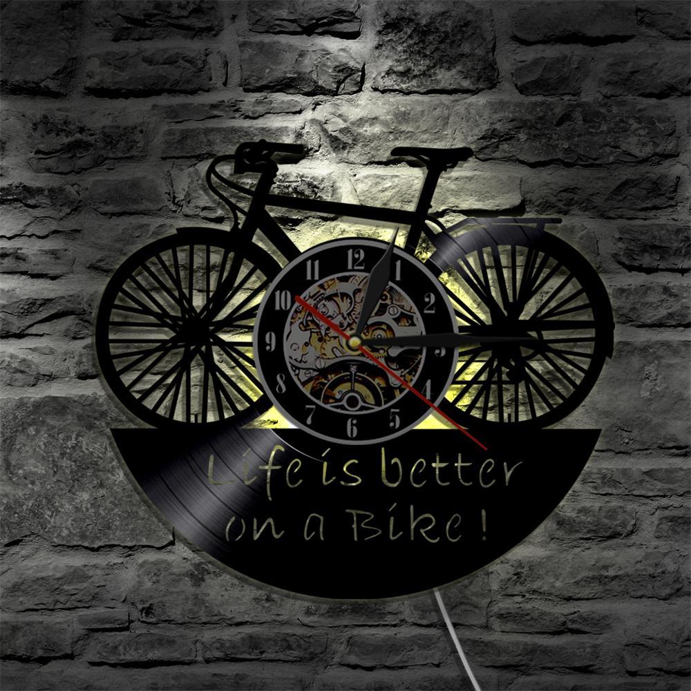 Compre La Vida Es Mejor En Una Bicicleta Llevó El Reloj De Vinilo