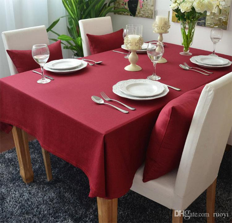 Solid Red Colored Thick Cotton Table Cloths Table Cover