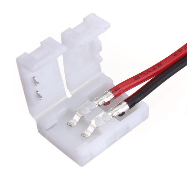Yüksek Kaliteli 10x Tel 2 Pin Konnektör Adaptörü ile 1 sonunda 10mm 3528 5050 Tek Renk Şerit LED Işık Lehimsiz sipariş $ 18no track