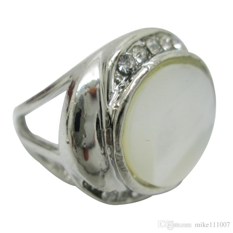 Joyas de concha natural Multi-estilo Anillos de plata para mujeres con anillos de concha blanca Aleación de joyería Anillo de dedo Anillo de concha de abulón Anillo de piedras preciosas