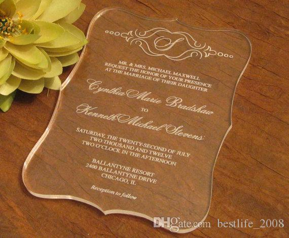 2016 High Quality Acrylic Clear Wedding Invitations Cardwedding