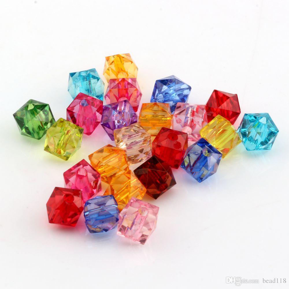 Quente! Mix Color Acrílico Transparente Facetado Quadrado Spacer beads 7 MM DIY Jóias