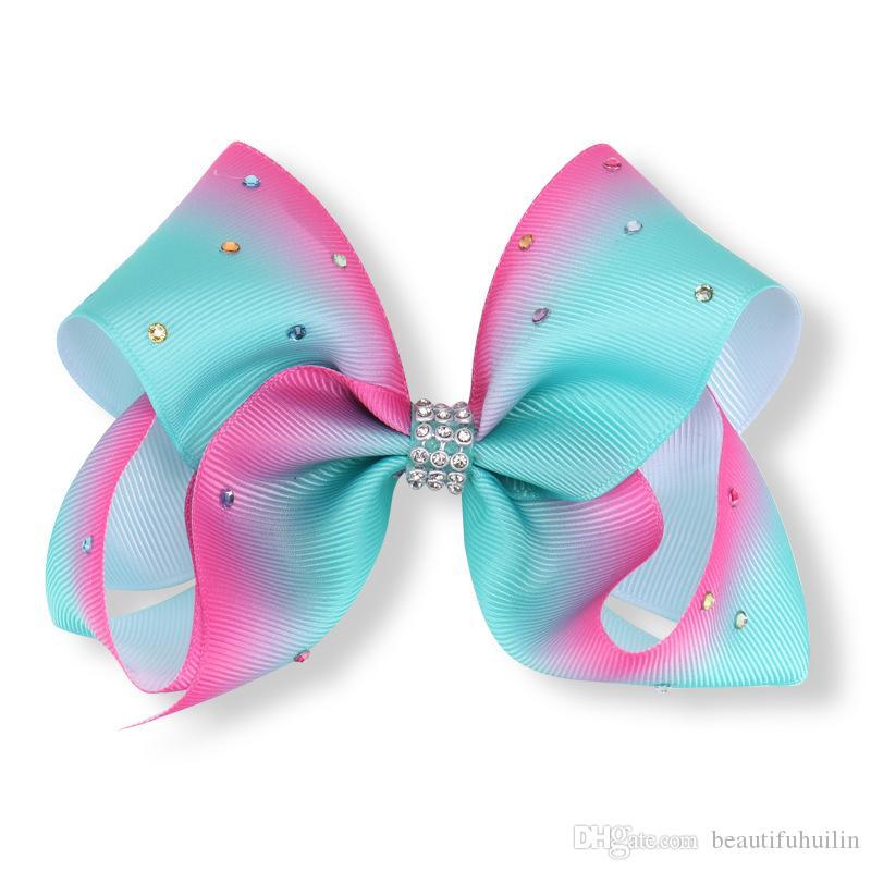 12CM Girls Rainbow Full Rhinestone Hair Clip Bowknot Center With Rhinestone Barrettes Hair Bow Beautiful HuiLin AW09