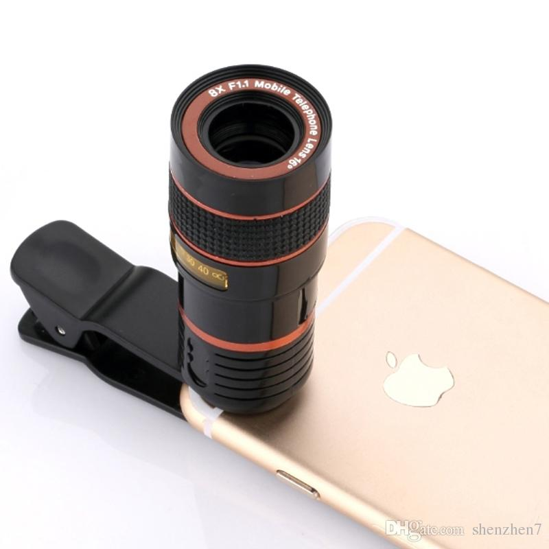 Special Design 8X Zoom Phone Telephoto Camera Lens with Clip Universal for iPhone Samsung HTC Smart Phone DHL Free OTH147