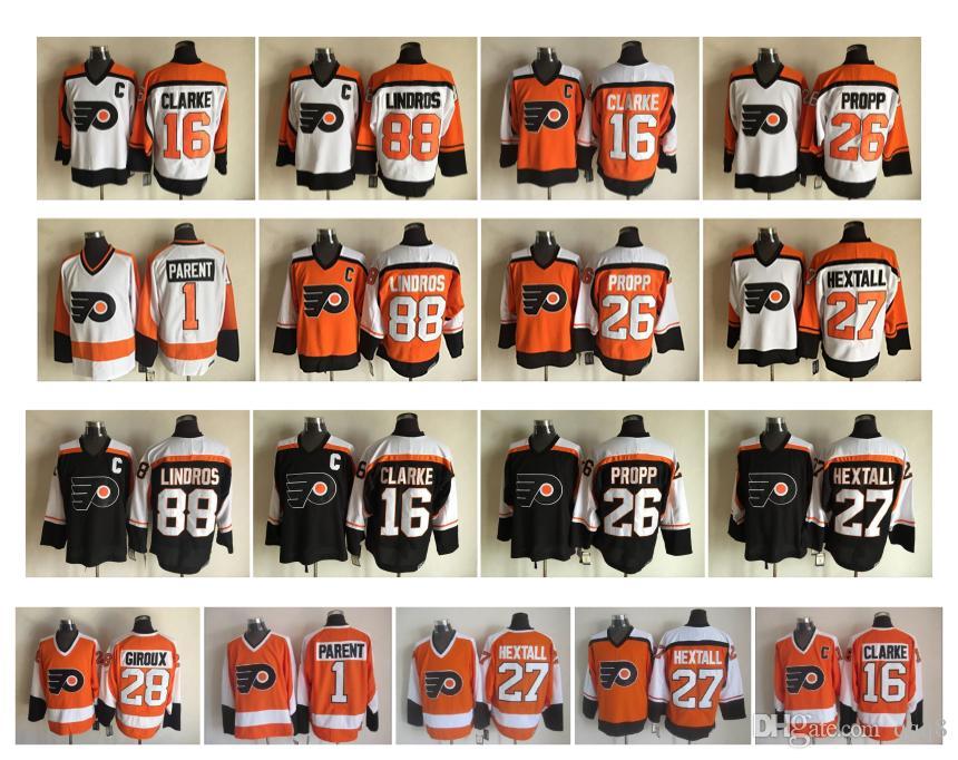 Retro Philadelphia Flyers Hockey Jersey 16 Bobby Clarke 88 Eric ... ed32e4f7f