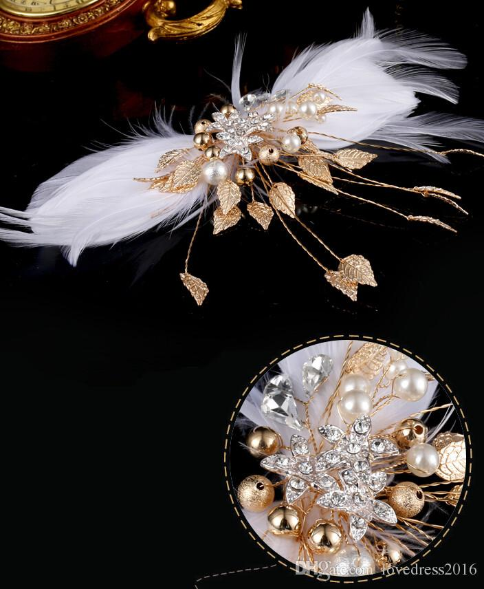 Pretty 2019 Ballet Swan Lake Headwear White Feathers Headpieces Stage Performance Wings Wedding Bridal Hair Accessories