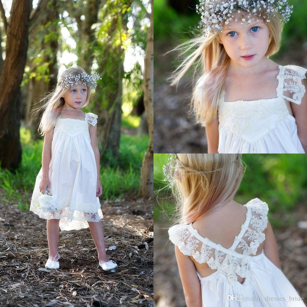 Boho Flower Girl Dresses For Wedding With Lace Spaghetti