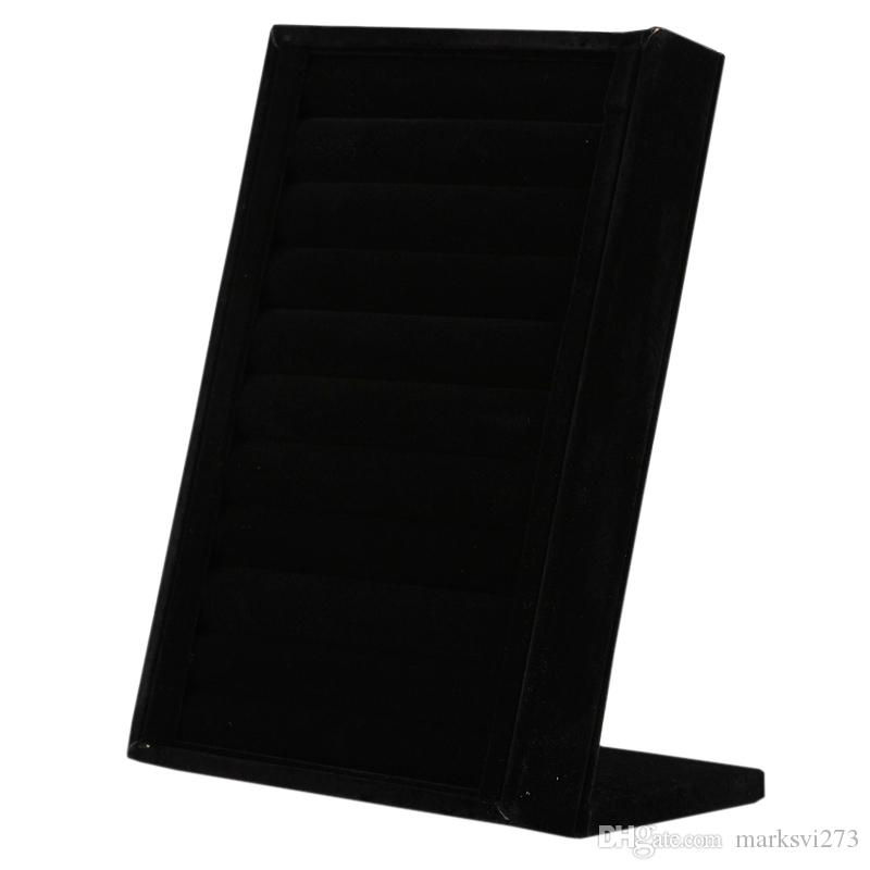 High-Grade Black Gray Velvet Ring Display Stand Ring Earring Stud Holder Jewelry Tray Display For Piercing