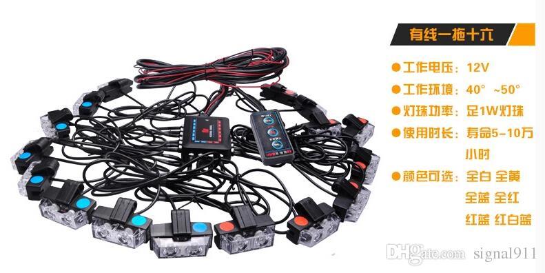 LED Araba Izgara Acil Işıklar, 16 Noktalar * 2W, Kırmızı / Mavi Uyarı Işıkları, Kontrolörlü Strobe Işıkları, Su Geçirmez