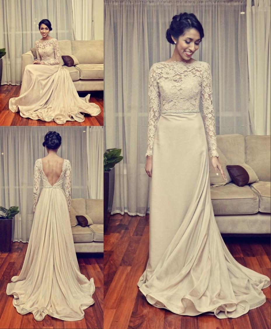 Discount Vintage Lace Wedding Dresses Long Sleeves 2015