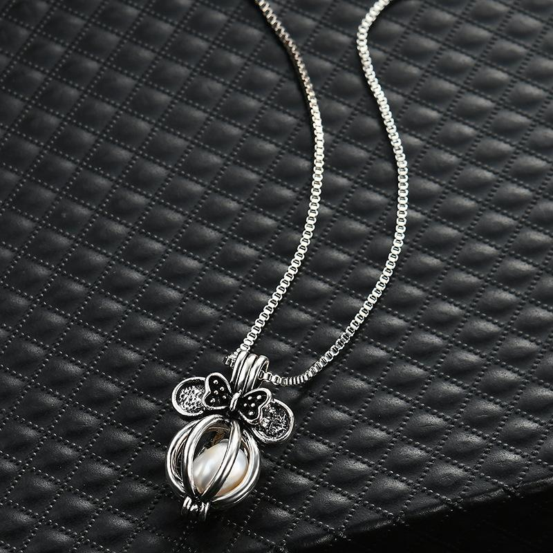 Chimes Pregnancy Bow clavicle chain necklace Luxurious floating Lockets romantic love jewelry silver hollow Bow Pearl pendant necklaces