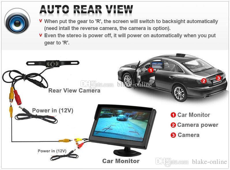 HD 7-calowy samochód z tyłu lustrzany lustrzany monitor TFT ekran LCD z IR Nighvision LED Camery