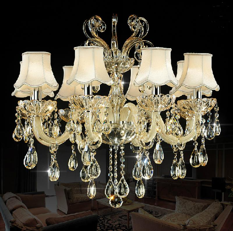 8 Lights Crystal Pendant Chandelier Lighting In Easy Clean And Nice For Villas Living Room Foyer