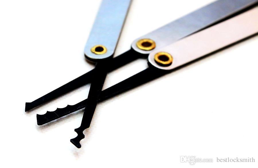 15 في 1 الفولاذ المقاوم للصدأ هوك قفل اختيار مجموعة قفل يختار أدوات الأقفال أداة فضة