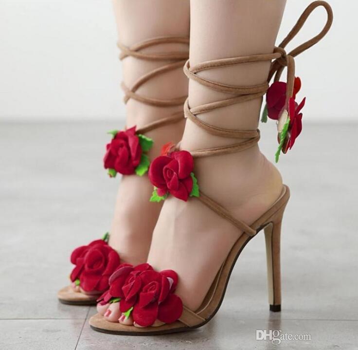 Compre Zapatos De Mujer De Flores Rojas Con Cordones Sandalias De Verano  Zapatos De Tacones Altos Bombas De Boda Del Partido De Las Mujeres A  22.12  Del ... 484955d2ac6f