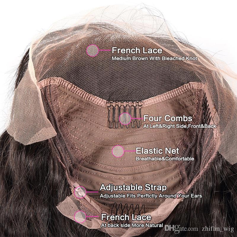 ZF Hot Big Body Wave Pelucas llenas del cordón del pelo humano Nudos blanqueados Remy Virgin Hair Lace Wigs para las mujeres negras