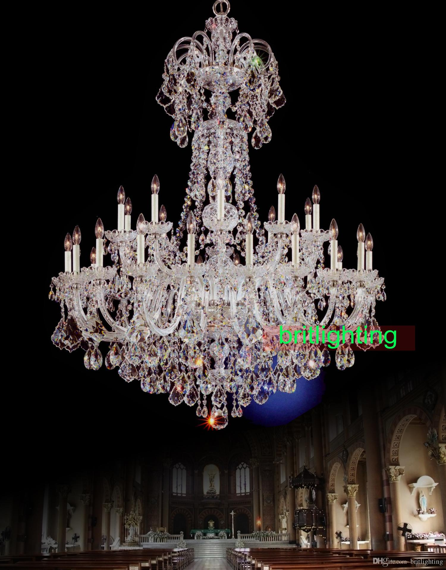 Large Crystal Chandelier Led Candle Style Chandelier Multi Tier ...