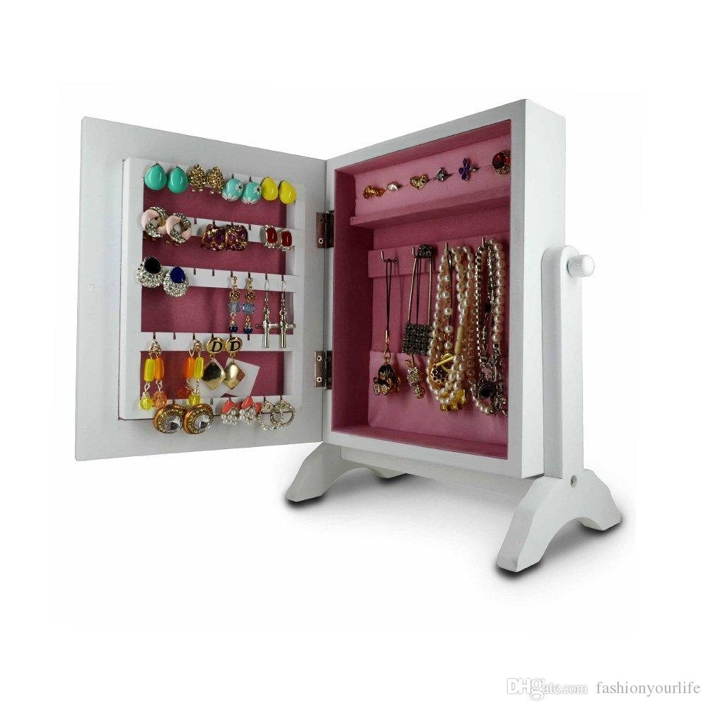 Tabletop Mini Jewelry Box Wooden Jewelry Armoire Box With Mirror