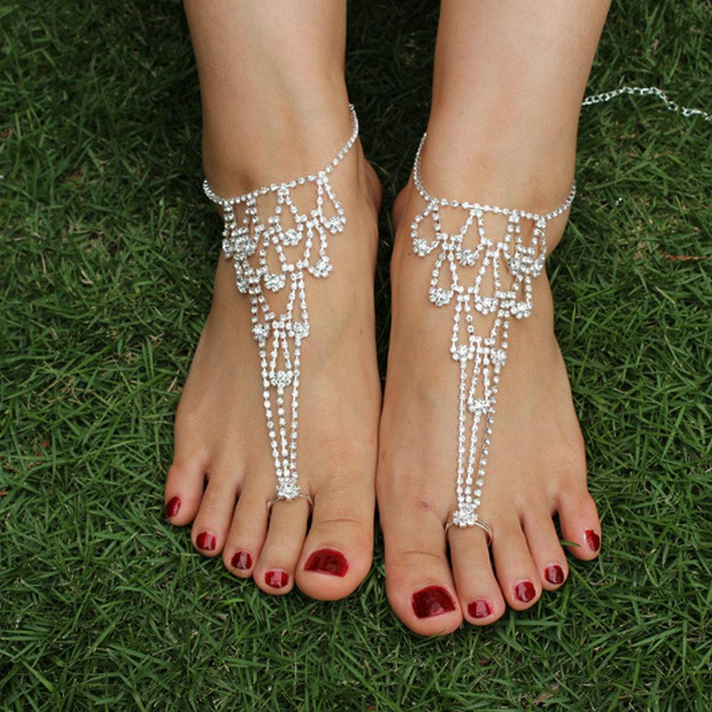 2018 rhinestones beach wedding foot jewelry sexy barefoot sandals