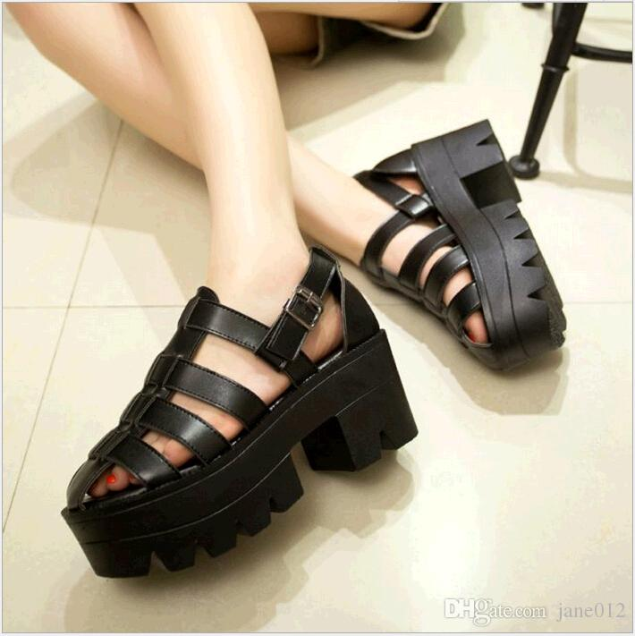 3afc9075def New Summer Women Shoes Flat Platform Gladiator Sandals Boots Black Leather  Open Toe Caged Peep Toe Chunky Heel Thick Sole Ladies Footwear Chunky Heel  Thick ...