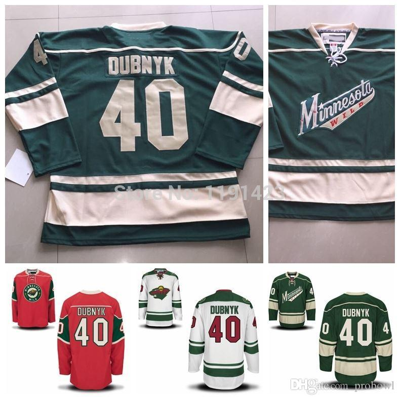 2015 Men's #40 Devan Dubnyk Jersey Minnesota Wild Hockey Jerseys Cheap Home Red Road White Green Devan Dubnyk Stitched Jersey