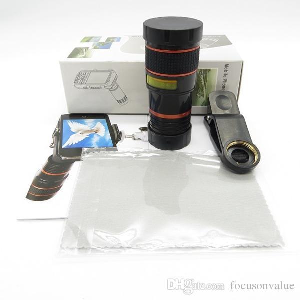 zoom óptico universal 8X lente telescópica móvil con clip para teléfono inteligente Iphone Samsung Ipad HTC Sony blackberry con caja minorista