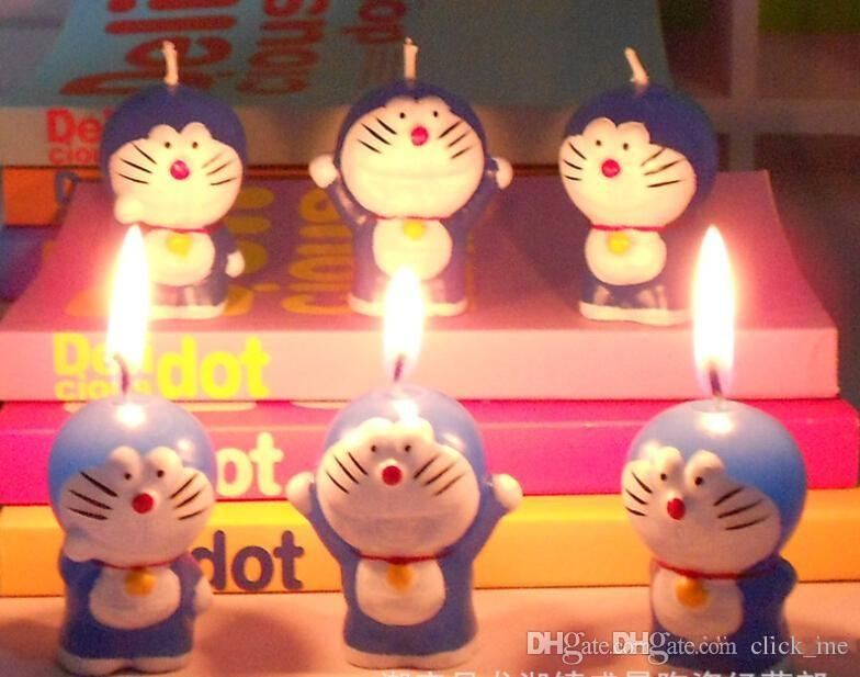 Lovely DIY Candles Favors Velas de cumpleaños doraemon Boda little Cat vela libre de humo Birthday Valentine Wedding Jingle cats Regalos de niños