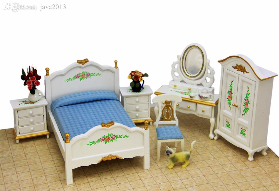 Wholesale 1:12 Palace Bedroom Furniture Miniature 5in1 Toy Set Bed+Dressing  Table+Side Cabinet+Wardrobe+Chair Dollhouse Accessories Mirror Baby Dolls  And ...